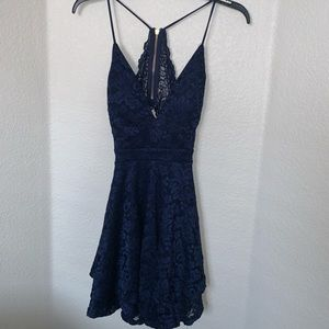 Navy Blue Lace Mini Dress